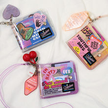 Bentoy pvc transparente curto pescoço carteira para menina milkjoy laser holográfico moeda bolsa feminina claro brilhante carta titular do cartão