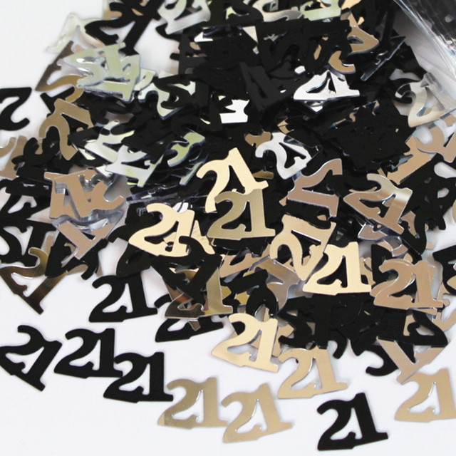 Happy 21st 21th Birthday Party Decoration Kits Number 21 Confetti Table Sprinkles BLACK SILVER