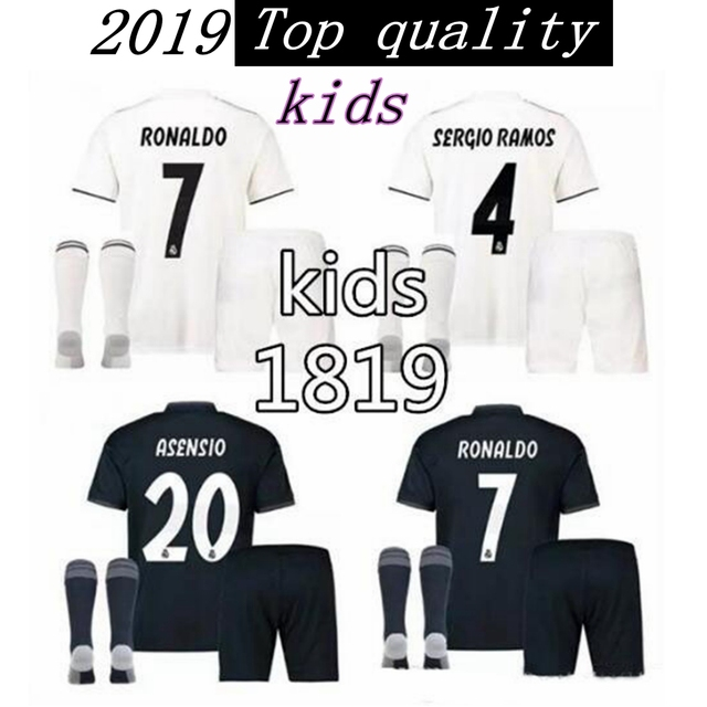 Children 18 19 RM Real madrid kids shirts home away custom name number  ronaldo 7 AAA quality soccer sets shirts+shorts+socks f1ce6a80e