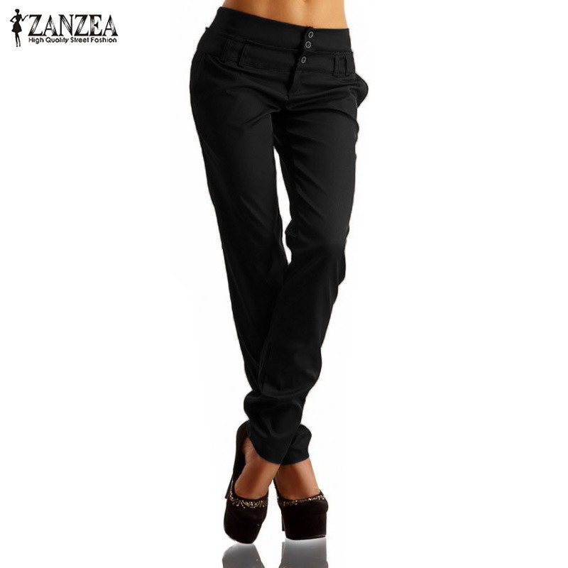 Women Long   Pants   2019 ZANZEA Summer Autumn High Waist Buttons Zipper Solid Trousers Casual Slim Pencil   Pants   Plus Size   Capris