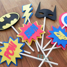 Cupcake Birthday-Party-Decoration Toppers-Superhero Comic Die-Cut Phrases
