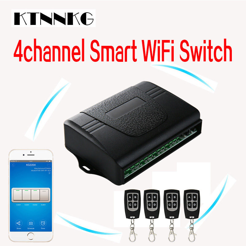 Smart home, 4CH wireless WIFI remote control switch, 433Mhz, with four remote control packages, family is a good helper