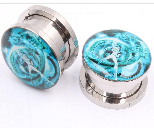 The dragon warrior Ear Plugs Flesh Tunnels,stainless steel Earring Hollow Expander Ear Gauges Kit,Piercing Jewelry 5MM - 16MM