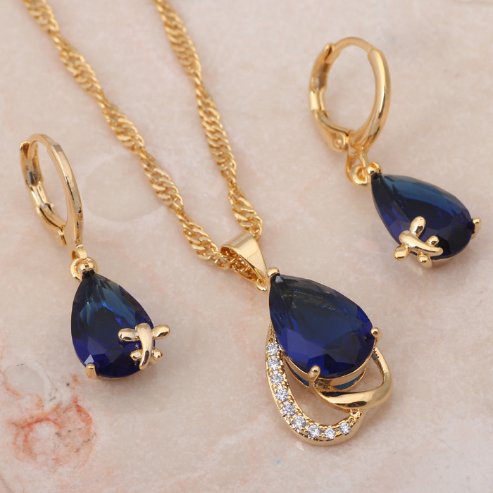 Royal Blue design Fashion Jewelry Sets gold tone Blue color AAA