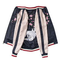 Super Fire Harajuku Jacket for Men and Women Spring Fall Loose Nine tailed Fox Embroidered Baseball Coat Students Pilot Jackets