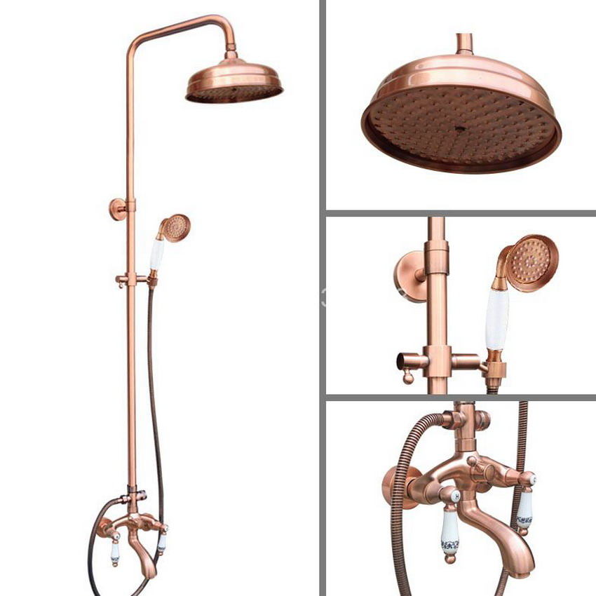 Antique Red Copper Wall Mounted Rainfall Bathroom 8 inch Round Rain Shower Faucet Set Dual Ceramic Handle Tub Mixer Tap arg534