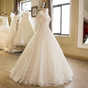 Image 3 - SL 5 Charming A Line Short Sleeve Tulle Lace Appliques Vintage Boho Wedding Dress