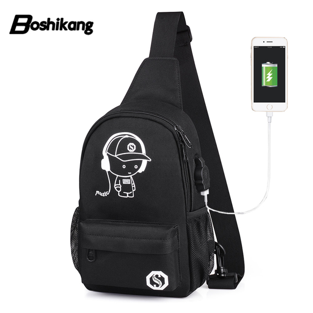Boshikang Waterproof Sling Bag Men Trendy Messenger Bag Black Color Chest  Pack Men Oxford Female male Crossbody Bag School f91f823ebc