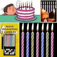 10 قطعة من الشموع السحرية المعادة صعبة عيد ميلاد الخالدة تهب الشموع حفلة عيد ميلاد كعكة الديكورات