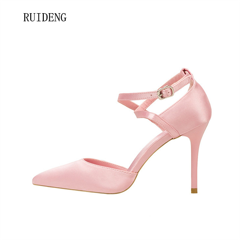 RUIDENG women high heel pumps party sexy wedding fashion shoes slip on thin heels 9cm pointed toe black pink office lady spring summer bowknot hollow women pumps fashion sexy high heels slip on pointed toe thin heel ladies wedding party shoes