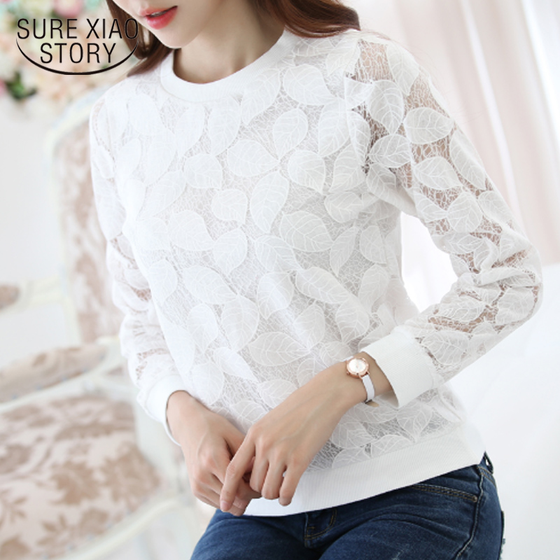 2016 New Arrival Hot Sale Fashion Lace   Blouses     Shirt   autumn Fashion Chiffon   shirt   slim Long Sleeved clothing 883H 25