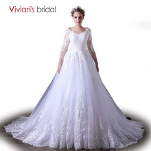 Vivian's Bridal Wedding Dress Three Quarter Sleeve