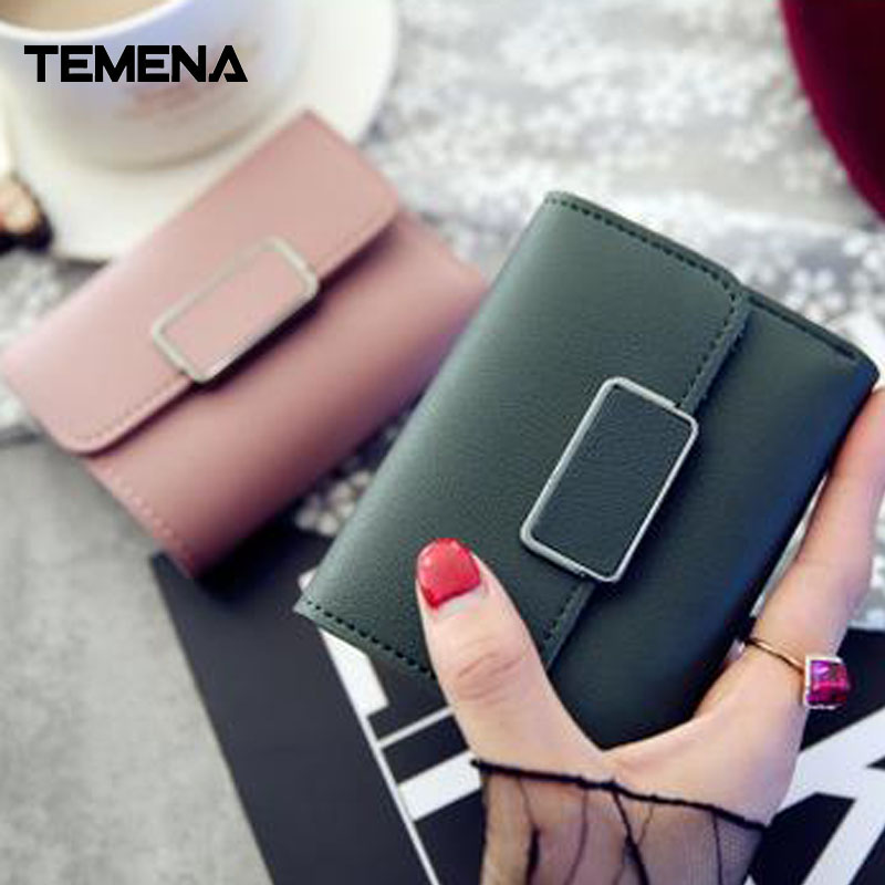 Temena Small Women Hasp Wallet Female Fashion Lady Wallet Short Solid Color Change Purse Hot Female Clutch Carteras FemaleAWL034 fashion hasp and solid color design wallet for women