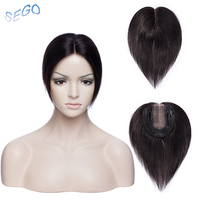 SEGO 6 Inch 10*12cm Straight Weld and Mono Base Hair TopperToupee For Women 3 Clips Closure Pure Color Hair Pieces Indian Hair