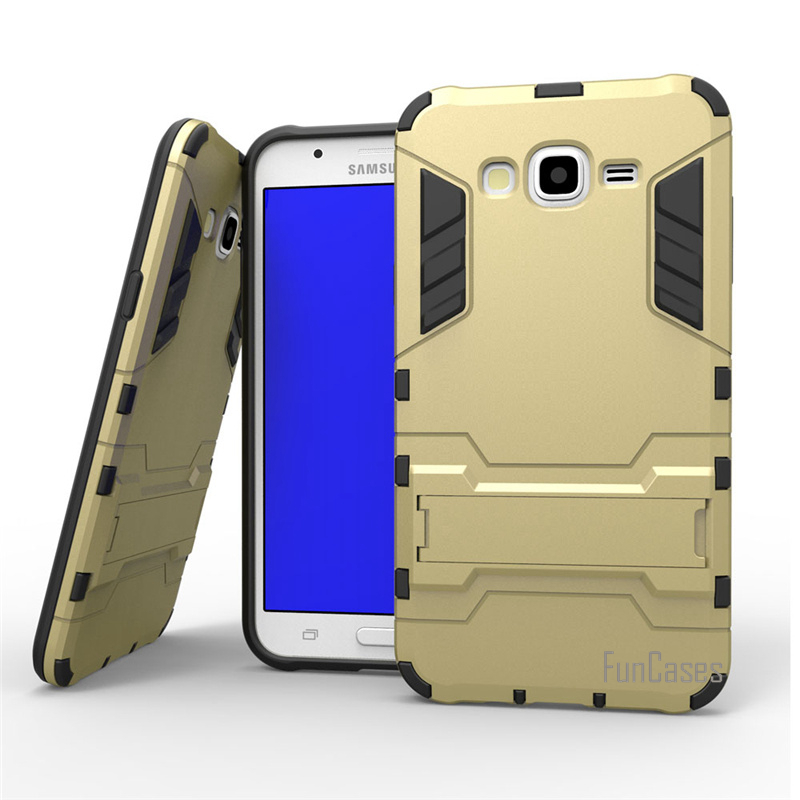 For Samsung Galaxy J7 J700 J700F Case Dual Layer Hybrid Rugged Armor Hard PC+TPU 2 In 1 Shockproof With Kickstand Cover Cases