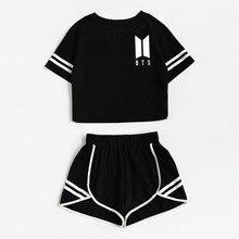 2019 Summer Cotton Striped Women's Tracksuit BTS Print Tracksuits Set 2 Piece Woman Suits Shorts Crop Tops + Shorts Pants Outfit