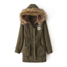 Down Cotton Parka Autumn Winter Jacket Women Fashion Womens Fur Collar Coats Jackets For Lady Long Slim Hooded Plus Size Parkas