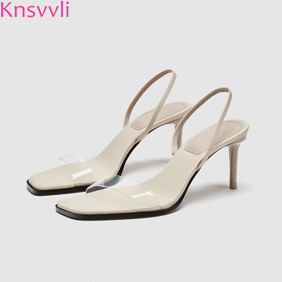 Knsvvli One Word Band Peep Toe High Heel Shoes Women Stiletto Square Toe Summer Transparent Back Strap Fashion Women Sandals