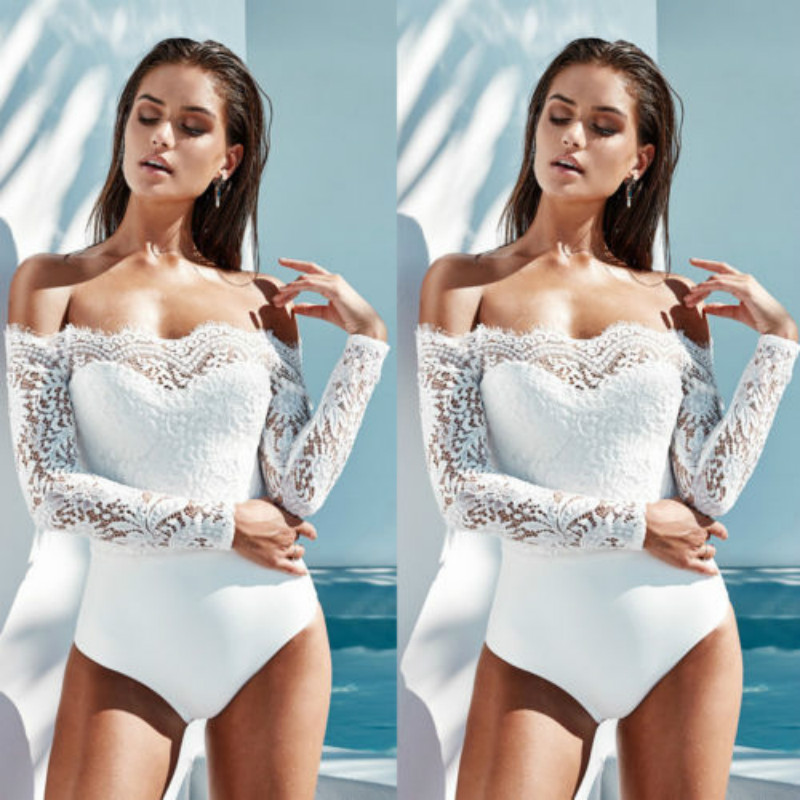 Women Sexy Long Sleeve Strapless White Lace Bodysuit Lady Summer Casual Bodycon Rompers New