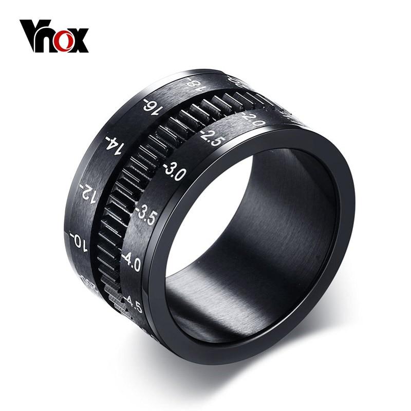 Prix pour Vnox Hommes Anneau Tourner la Caméra Noir Unique 12mm Largeur En Acier Inoxydable Moyen Spinner
