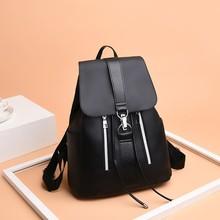 Women Backpack School Bags For Teenager Girls Nylon Zipper Lock Design Black Mochila Female Fashion Bag