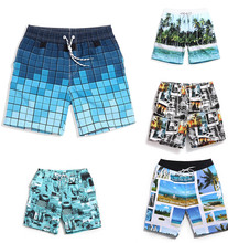 New style men's beach shorts quick dry microfiber beach towel swim surf waterproof shorts print  Beach puzzle beautiful swimwear