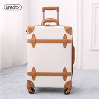 2018 travel suitcase retro luggage genuine leather pu spinner luggage bag handmade high quality travel suitcase on wheels