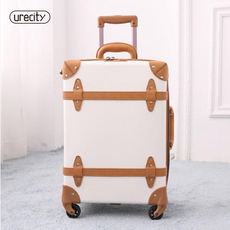 2018 travel suitcase retro luggage genuine leather pu spinner luggage bag handmade high quality travel suitcase on wheels