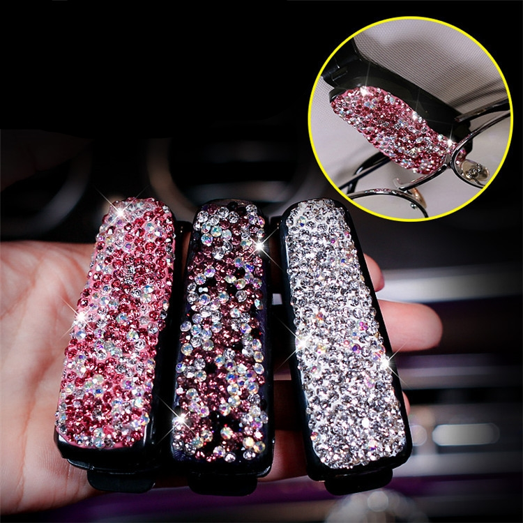 Accessorie Folder Sunglasses Auto-Fastener Rhinestone Car-Sun-Visor Diamond Receipt-Card-Clip