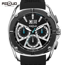 KIT AILUO Impermeable Del Deporte Del Cronógrafo Relojes Hombres Marca de Lujo de Zafiro reloj de Cuarzo de Silicona Casual Horas Reloj relojes 2016