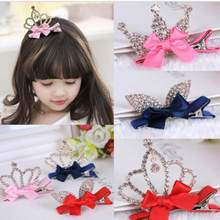 New Arrival Details Headdress Crystal Crown Baby Kids Girls Children Shiny Princess Rabbit Ears Hair Clip Top Headdress Headwear(China)