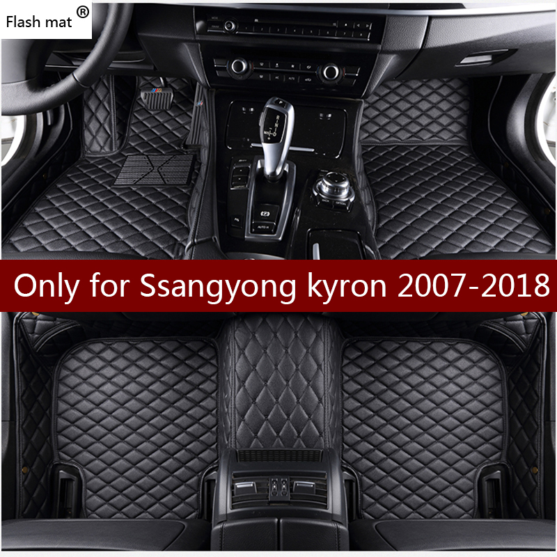 Flash mat leather car floor mats for Ssangyong kyron 2007-2016 2017 2018 Custom foot Pads automobile carpet car covers image