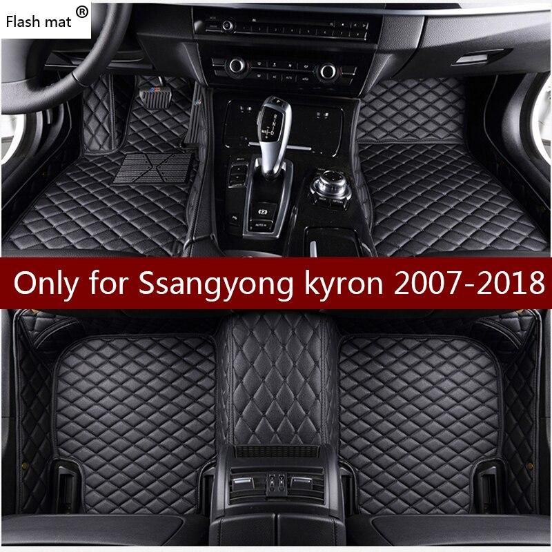 Flash tapis en cuir de voiture tapis de sol pour Ssangyong kyron 2007-2016 2017 2018 Personnalisé pied Tapis automobile tapis de voiture couvre