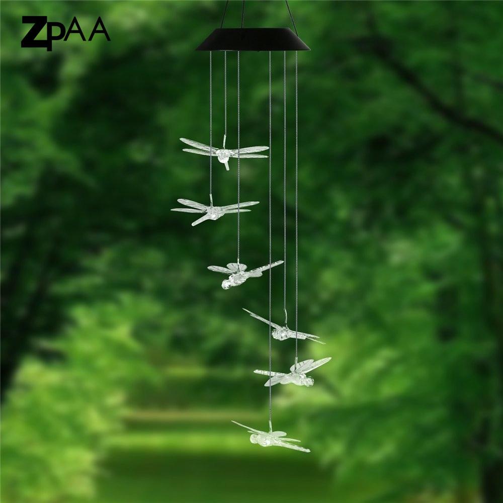 Outdoor LED Solar Lamp Hummingbirds dragonfly Wind Home Garden Decor ...