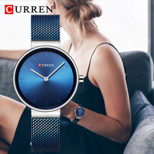 CURREN 9016 Fashion Blue Ladies Watches Mesh Stainless Steel Quartz Watch Women Luxury Simple Wristwatches Analog Lady Clock