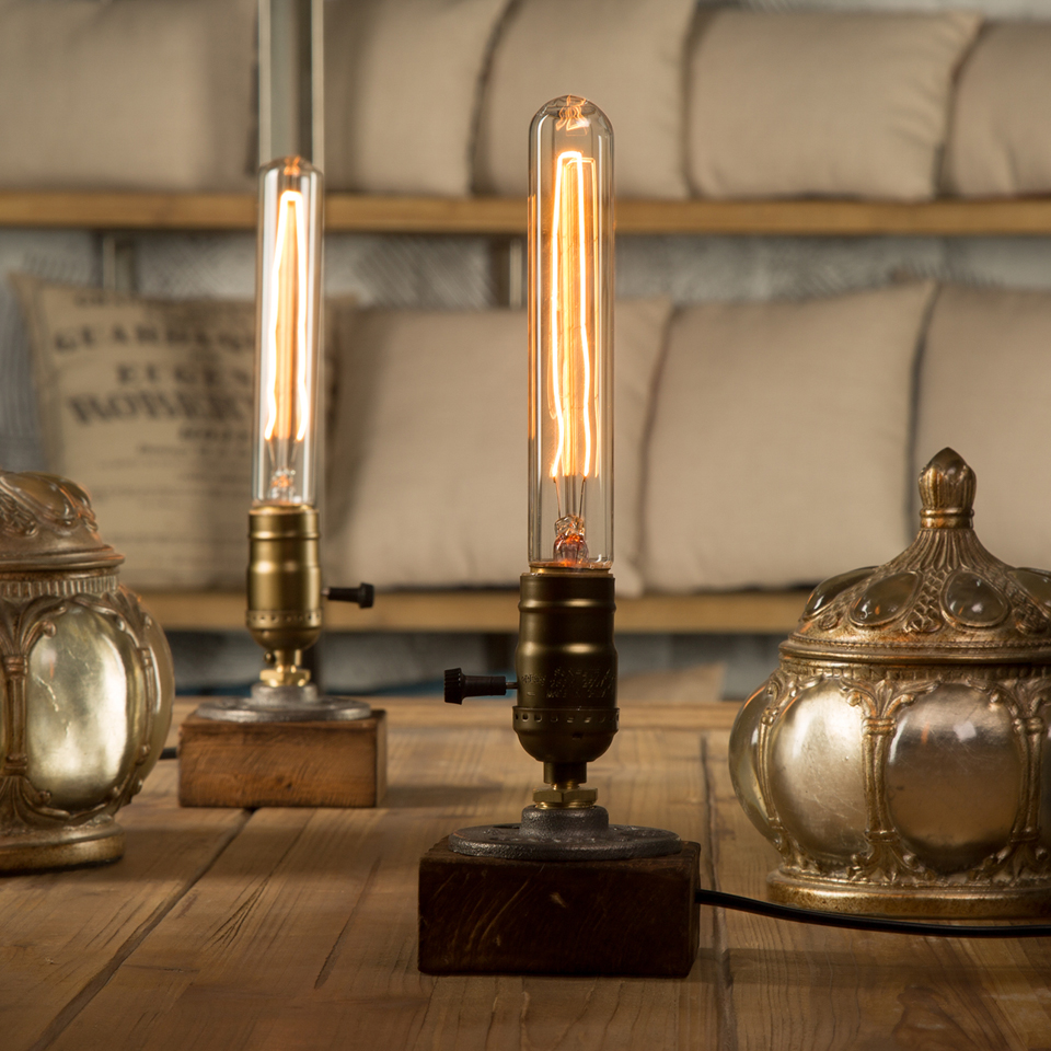 Loft vintage e27 holder edison bulb table lamp wood base for Light bulb table lamp
