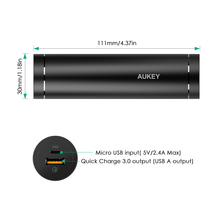 AUKEY 5000mAh Power Bank Qualcomm Quick Charge 3.0 Cylindrical Powerbank Portable External Battery Mobile Fast Charger for Phone