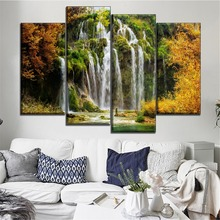 Modular National Park Picture 4 Piece Type Wall Art Home Decorative Modern Canvas HD Printed Landscape Waterfall Painting
