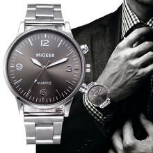 Модные Мужские Аналоговые кварцевые наручные часы браслет из