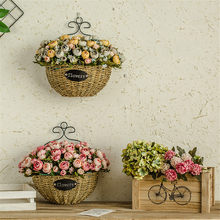 Hand Made Wicker Rattan Flower Basket bamboo Green vine Pot Planter Hanging Vase Container Wall Home Decor 523(China)