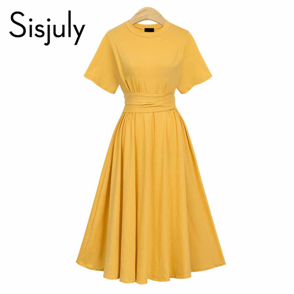 US $23.17 35% OFF Sisjuly Women\'s Dress Bright Yellow Plus Size 2019 Summer  Expansion A line Belt Solid Girls Empire Dress Female Pleated dresses-in ...