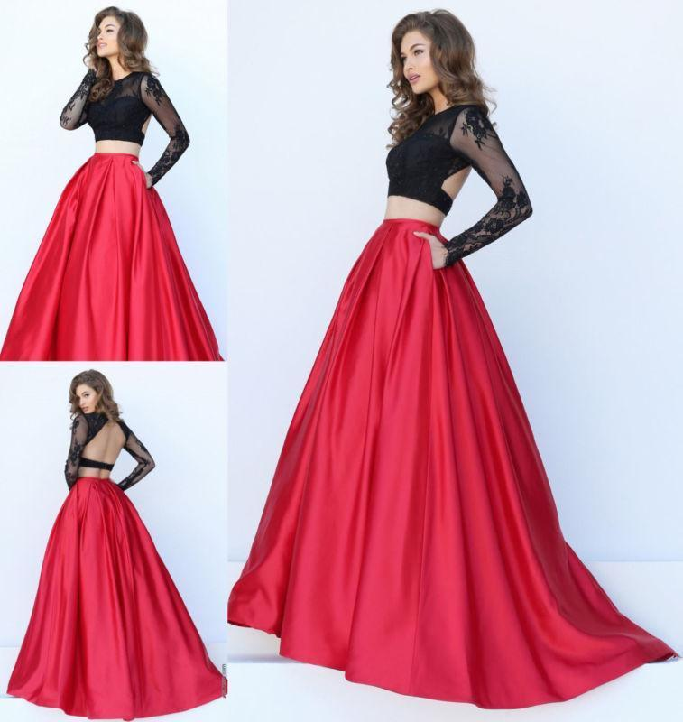 Red/Black Two Piece Long   Bridesmaid     Dresses