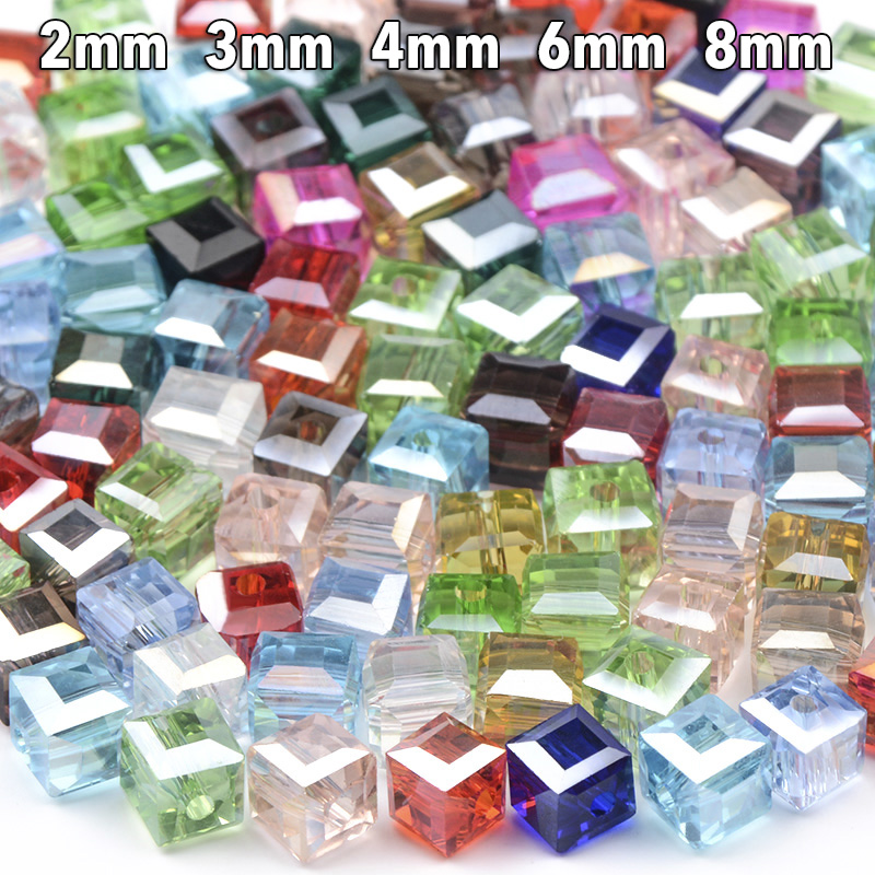 Austrian Crystal Beads Bracelet Supply Transparent-Beads Jewelry-Making Square-Shape