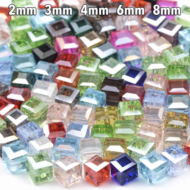 200 pcs/lot Square shape Upscale Austrian crystal beads Transparent beads 2mm 3mm 4mm 6mm 8mm supply bracelet Jewelry Making DIY