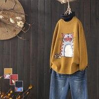 Cartoon totoro vintage o neck pullover sweater autumn winter 2108 mori girl