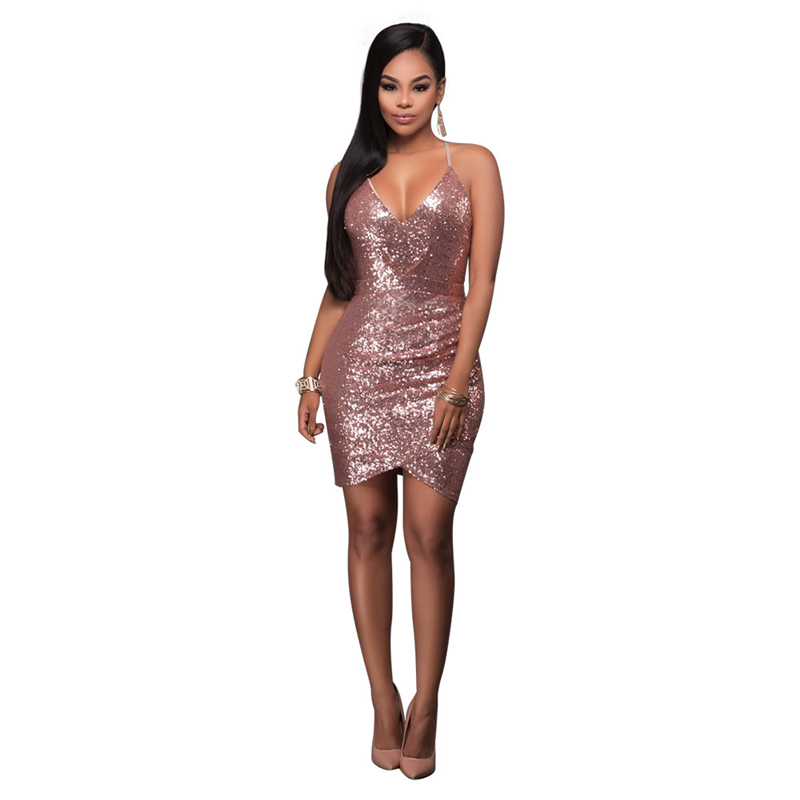 Sexy ladies fashion deep V-Neck Sequin tight dress with shoulder-straps for party