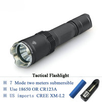 Tactical flashlight self defense flash light CREE XM L2 LED linternas waterproof IPX 8 CR123A OR 18650 Hunting lanterna Torch