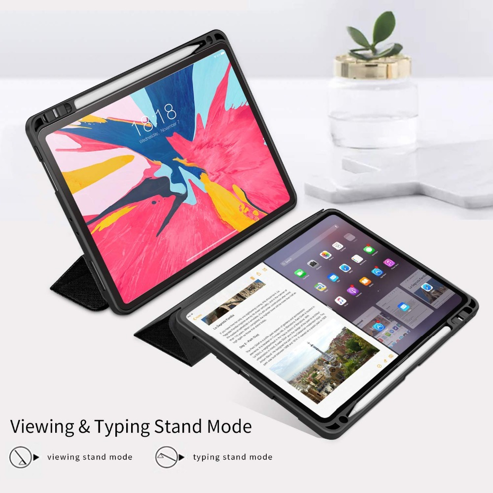 Case-For-iPad-Pro-12-9-2018-With-Pencil-Holder-PU-Leather-Front-Cover-Silicone-Soft