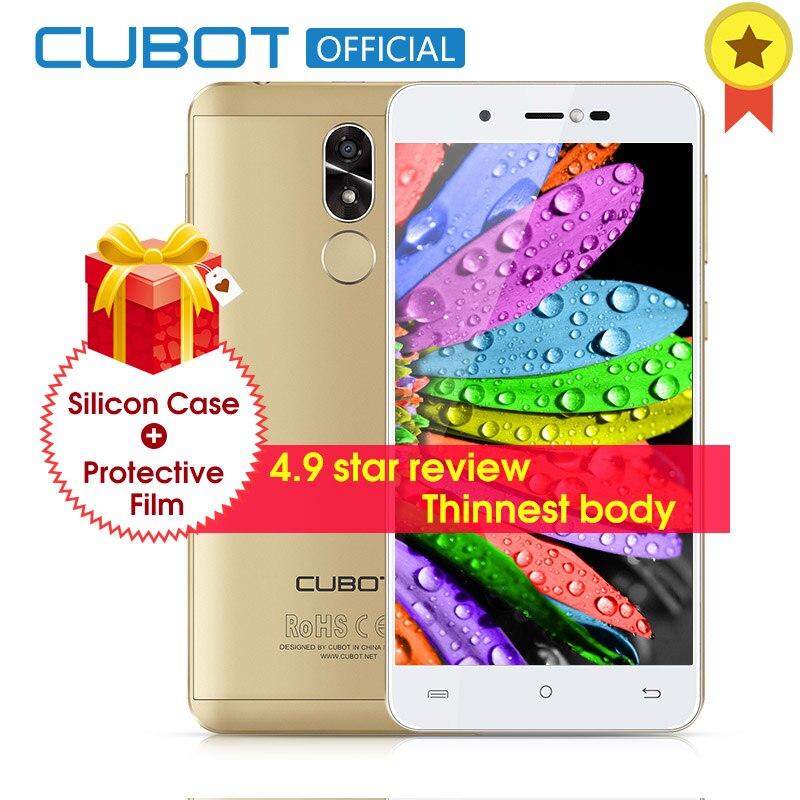 R9 Quad Core MT6580 Cubot Android 7.0 Fingerprint 2 GB de RAM 16 GB ROM Smartphone 5.0 de Polegada 1280x720 HD Tela 13.0MP Câmera Celular
