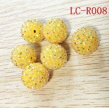 Новинка 20 мм 100 шт./лот, желтый цвет, 100 шт./лот, массивные, прозрачные, AB, стразы, шарики для изготовления ожерелья